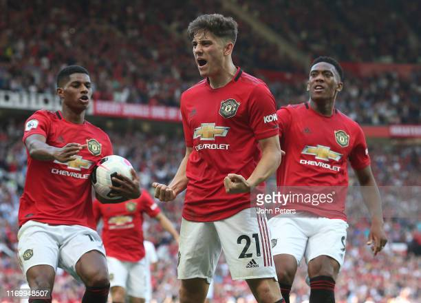 Daniel James of Manchester United celebrates scoring their first goal during the Premier League match between Manchester United and Crystal Palace at...