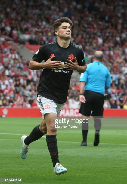 Daniel James of Manchester United celebrates scoring their first goal during the Premier League match between Southampton FC and Manchester United at...