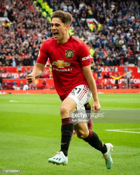 Daniel James of Manchester United celebrates scoring their fourth goal during the Premier League match between Manchester United and Chelsea FC at...