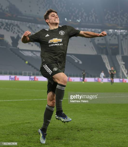 Daniel James of Manchester United celebrates scoring their fourth goal during the UEFA Europa League Round of 32 match between Real Sociedad and...