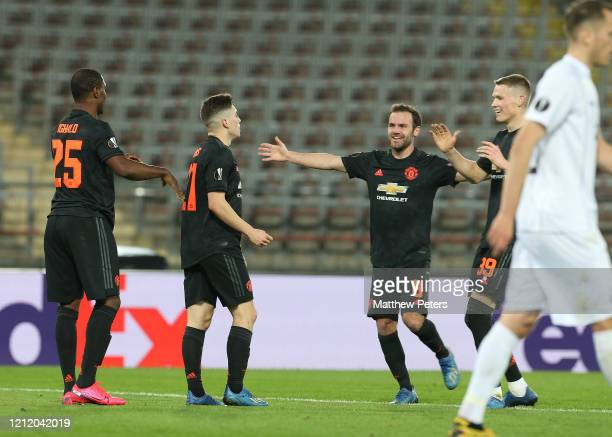 Daniel James of Manchester United celebrates scoring their second goal during the UEFA Europa League round of 16 first leg match between LASK and...
