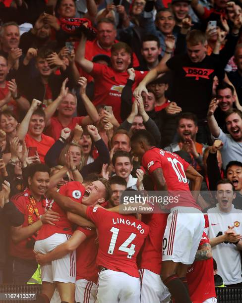 Daniel James of Manchester United celebrating scoring the fourth goal during the Premier League match between Manchester United and Chelsea FC at Old...