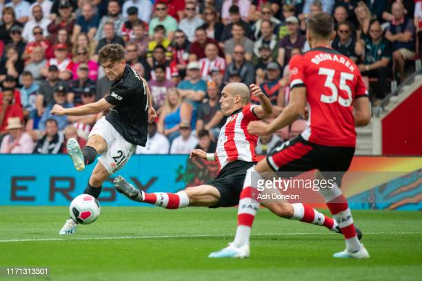 Daniel James of Manchester United has a shot on goal during the Premier League match between Southampton FC and Manchester United at St Mary's...