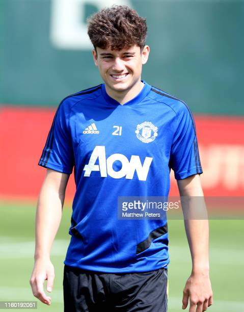 Daniel James of Manchester United in action during a first team training session at Aon Training Complex on July 04 2019 in Manchester England