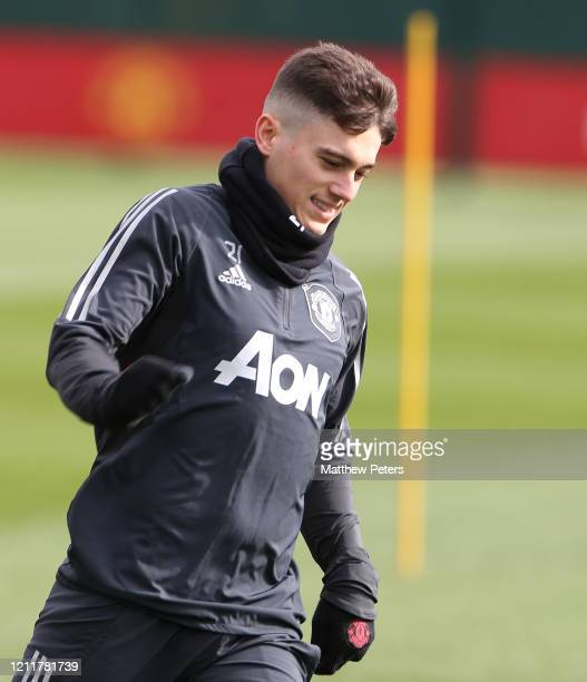 Daniel James of Manchester United in action during a first team training session at Aon Training Complex on March 11 2020 in Manchester England