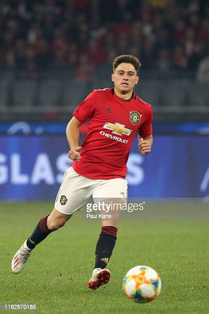 Daniel James of Manchester United in action during a preseason friendly match between Manchester United and Leeds United at Optus Stadium on July 17...