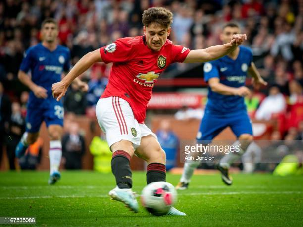 Daniel James of Manchester United in action during the Premier League match between Manchester United and Chelsea FC at Old Trafford on August 11...