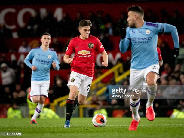 Daniel James of Manchester United in action during the Premier League match between Manchester United and Manchester City at Old Trafford on March 08...