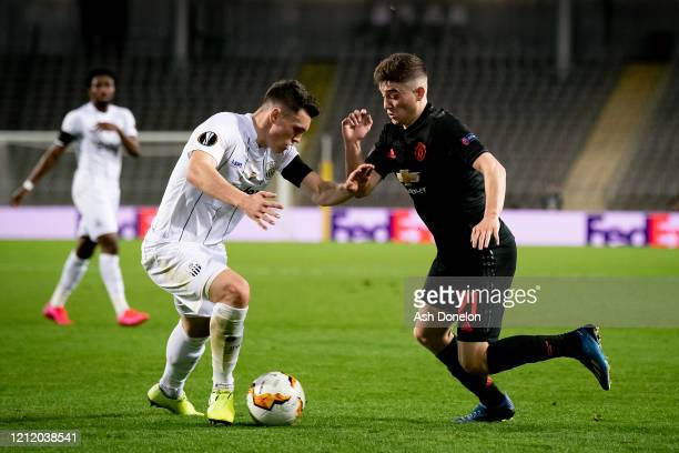 Daniel James of Manchester United in action during the UEFA Europa League round of 16 first leg match between LASK and Manchester United at Linzer...