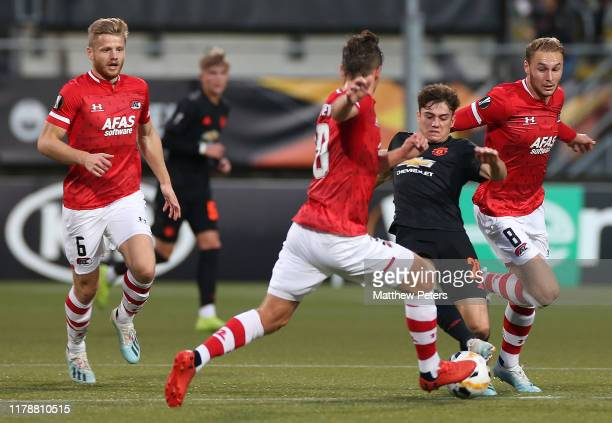 Daniel James of Manchester United in action with Stijn Wuytens of AZ Alkmaar during the UEFA Europa League group L match between AZ Alkmaar and...