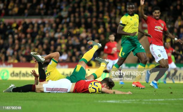 Daniel James of Manchester United is fouled by Ben Godfrey of Norwich City leading the Manchester United's first penalty during the Premier League...