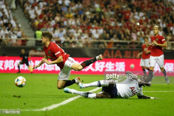 Daniel James of Manchester United is fouled by Moussa Sissoko of Tottenham Hotspur during the International Champions Cup match between Tottenham...