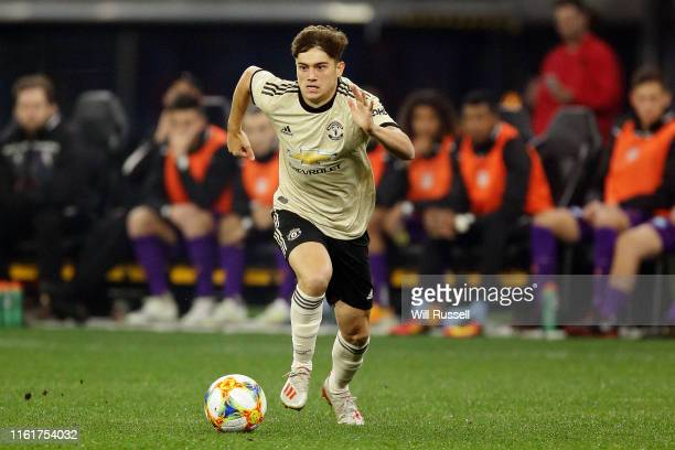Daniel James of Manchester United looks to pass the ball during the match between the Perth Glory and Manchester United at Optus Stadium on July 13...