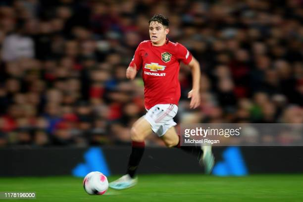 Daniel James of Manchester United runs with the ball during the Premier League match between Manchester United and Arsenal FC at Old Trafford on...