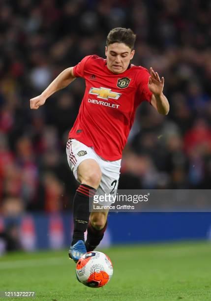 Daniel James of Manchester United runs with the ball during the Premier League match between Manchester United and Manchester City at Old Trafford on...