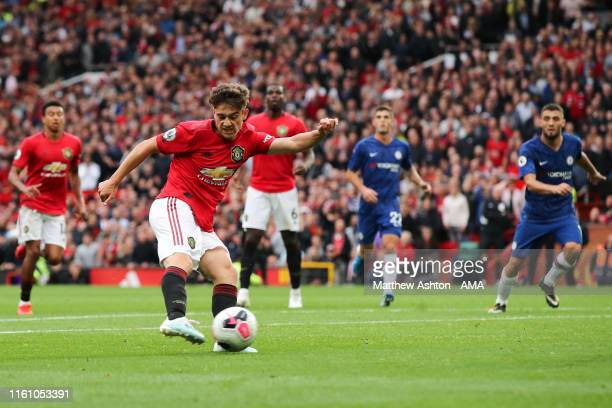 Daniel James of Manchester United scores a goal to make it 40 during the Premier League match between Manchester United and Chelsea FC at Old...