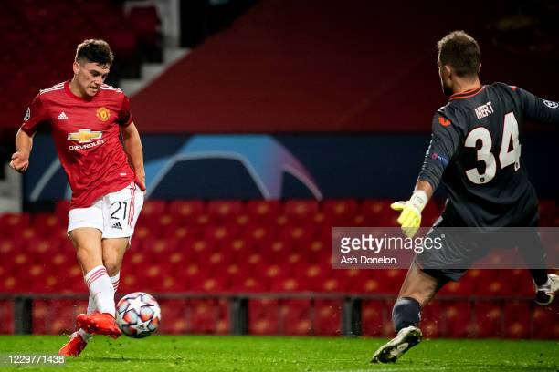 Daniel James of Manchester United scores a goal to make the score 4-1 during the UEFA Champions League Group H stage match between Manchester United...