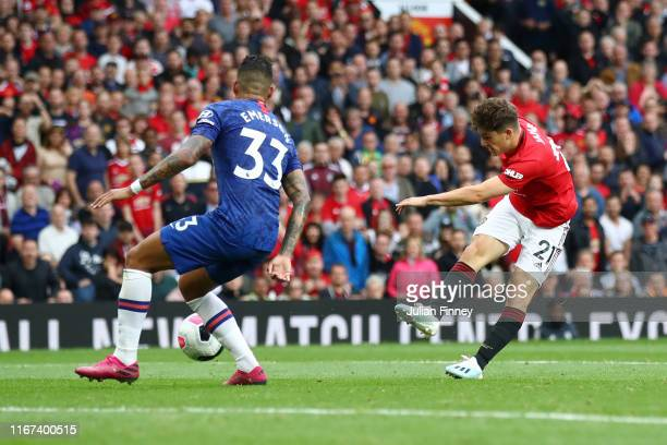 Daniel James of Manchester United scores his team's fourth goal during the Premier League match between Manchester United and Chelsea FC at Old...