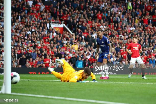 Daniel James of Manchester United scores his team's fourth goal past Kepa Arrizabalaga of Chelsea during the Premier League match between Manchester...