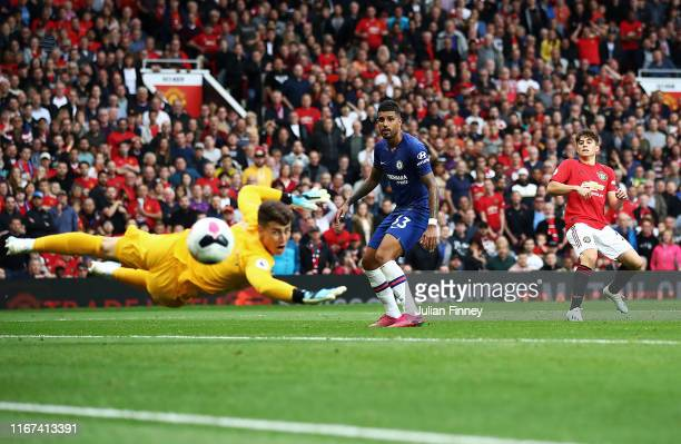 Daniel James of Manchester United scores the fourth goal during the Premier League match between Manchester United and Chelsea FC at Old Trafford on...