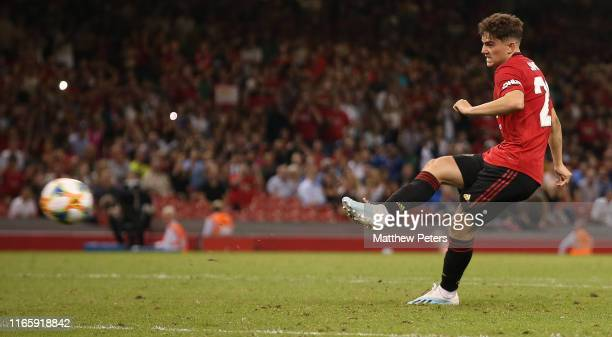 Daniel James of Manchester United scores the winning goal during a penalty shootout during the 2019 International Champions Cup match between...