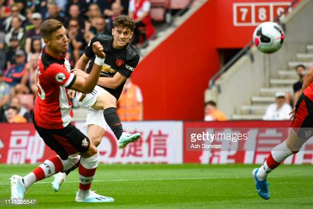 Daniel James of Manchester United scores their first goal during the Premier League match between Southampton FC and Manchester United at St Mary's...