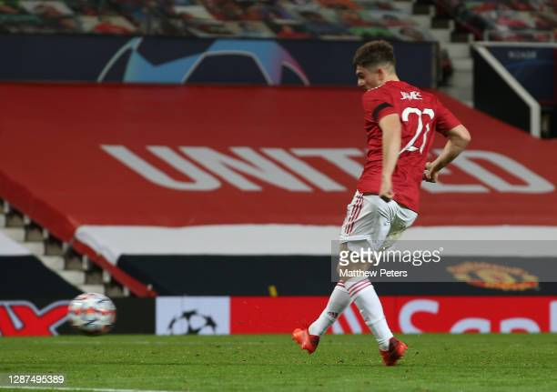 Daniel James of Manchester United scores their fourth goal during the UEFA Champions League Group H stage match between Manchester United and...