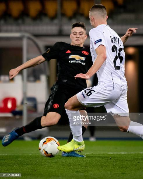 Daniel James of Manchester United scores their second goal during the UEFA Europa League round of 16 first leg match between LASK and Manchester...