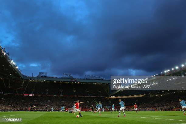 Daniel James of Manchester United shoots for goal during the Manchester derby at Old Trafford Stadium during the Premier League match between...