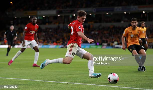 Daniel James of Manchester United takes a shot at goal during the Premier League match between Wolverhampton Wanderers and Manchester United at...