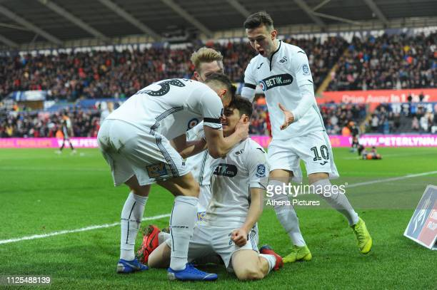 Daniel James of Swansea City celebrates scoring his side's second goal during the FA Cup Fifth Round match between Swansea City and Brentford at the...