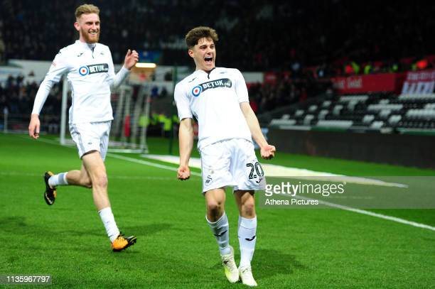 Daniel James of Swansea City celebrates scoring the opening goal during the Sky Bet Championship match between Swansea City and Stoke City at the...