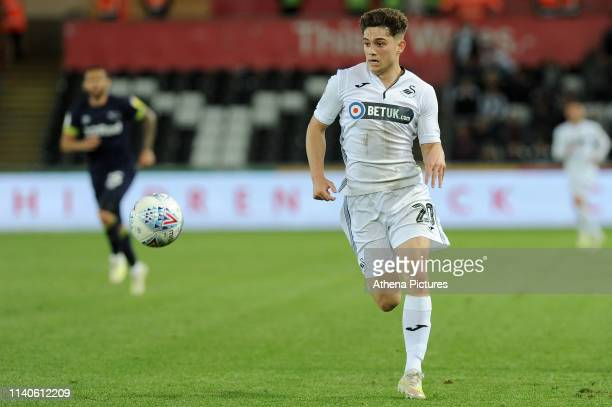 Daniel James of Swansea City in action during the Sky Bet Championship match between Swansea City and Derby County at the Liberty Stadium on May 01...