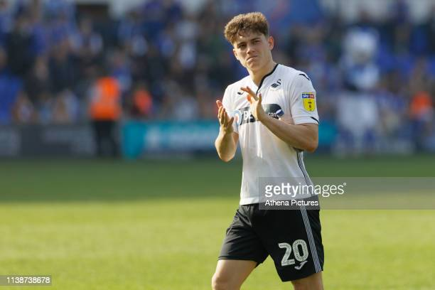 Daniel James of Swansea City thanks away supporters after the final whistle during the Sky Bet Championship match between Ipswich Town an Swansea...