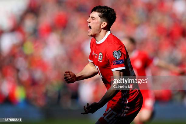 Daniel James of Wales celebrates after he scores his sides first goal during the 2020 UEFA European Championships group E qualifying match between...