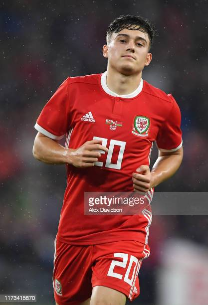 Daniel James of Wales celebrates after scoring his team's first goal during the International Friendly between Wales and Belarus at Cardiff City...