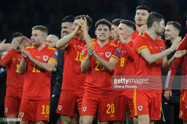 Daniel James of Wales celebrates at full time during the UEFA Euro 2020 Group E Qualifier match between Wales and Hungary at the Cardiff City Stadium...