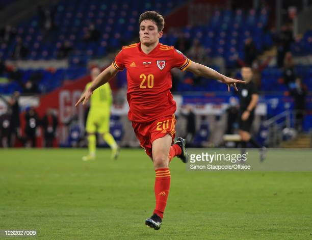 Daniel James of Wales celebrates scoring the opening goal during the FIFA World Cup 2022 Qatar qualifying match between Wales and Czech Republic at...