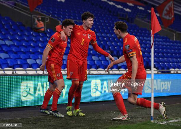 Daniel James of Wales celebrates scoring the opening goal with Neco Williams and James Lawrence during the FIFA World Cup 2022 Qatar qualifying match...