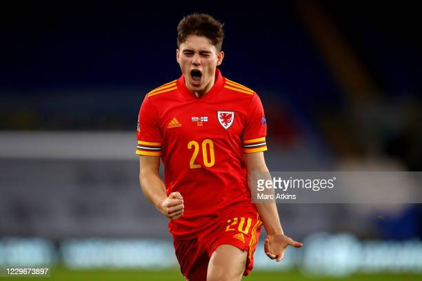 Daniel James of Wales celebrates scoring their 2nd goal during the UEFA Nations League group stage match between Wales and Finland at Cardiff City...