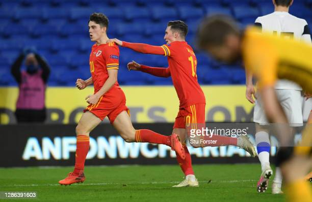 Daniel James of Wales celebrates with Harry Wilson after scoring their team's second goal during the UEFA Nations League group stage match between...