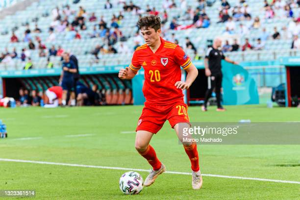 Daniel James of Wales controls the ball during the UEFA Euro 2020 Championship Group A match between Wales and Switzerland on June 12, 2021 in Baku,...