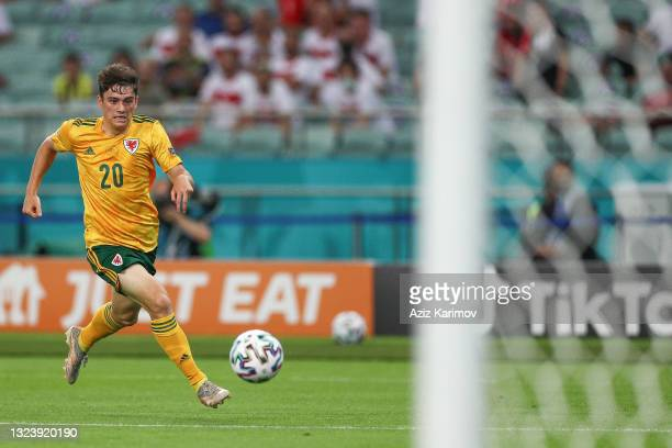 Daniel James of Wales controls the ball during the UEFA Euro 2020 Championship Group A match between Turkey and Wales at Baku Olympic Stadium on June...