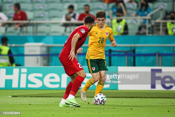 Daniel James of Wales controls the ball during the UEFA Euro 2020 Championship Group A match between Turkey and Wales at Baku Olimpiya Stadionu on...