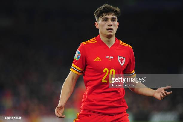 Daniel James of Wales gestures during the UEFA Euro 2020 Group E Qualifier match between Wales and Hungary at the Cardiff City Stadium on November...