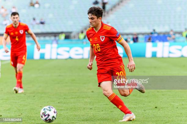 Daniel James of Wales in action during the UEFA Euro 2020 Championship Group A match between Wales and Switzerland on June 12, 2021 in Baku,...