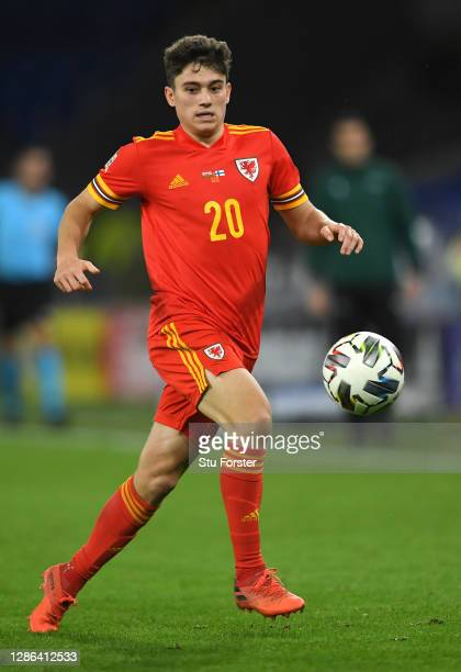 Daniel James of Wales in action during the UEFA Nations League group stage match between Wales and Finland at Cardiff City Stadium on November 18,...