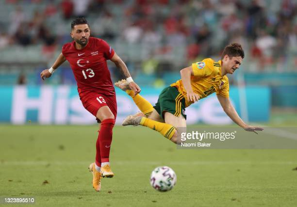 Daniel James of Wales is challenged by Umut Meras of Turkey during the UEFA Euro 2020 Championship Group A match between Turkey and Wales at Baku...