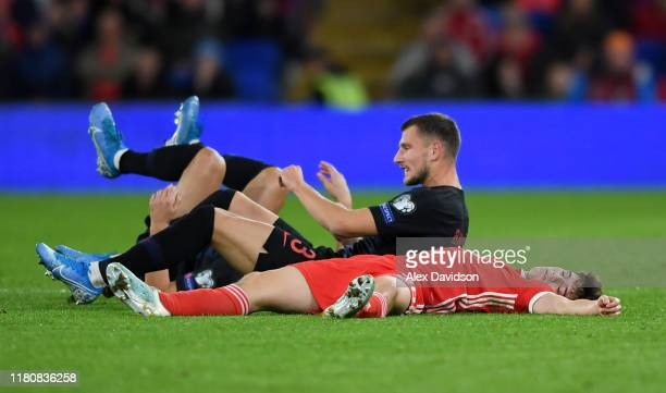 Daniel James of Wales lies on the ground after colliding with Borna Barisic of Croatia during the UEFA Euro 2020 qualifier between Wales and Croatia...