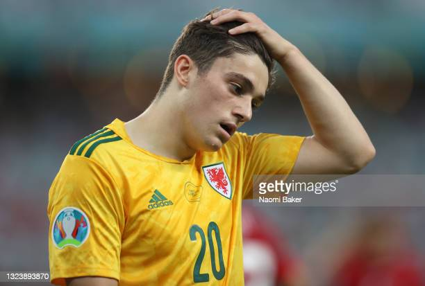 Daniel James of Wales reacts during the UEFA Euro 2020 Championship Group A match between Turkey and Wales at Baku Olimpiya Stadionu on June 16, 2021...